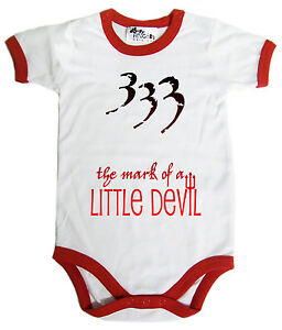 """Funny Baby Bodysuit """"333 The Mark of Little Devil"""" funny Clothes Costume"""