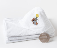 Luxury 100% Cotton Bear Embroidered Baby Hooded Towel Baby Towel  75 x 75cm