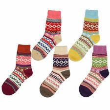 5 Pairs Womens Socks Warm Winter Multi-colored Socks Wool Woven Cashmere