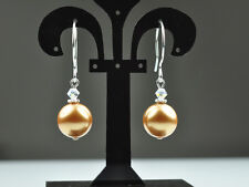 Luxurious Gold W Swarovski Elements Pearl Earrings Sterling Silver Filled