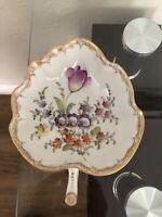 VTG Dresden Footed Leaf Shaped Hand Painted Floral Porcelain Medium Bowl