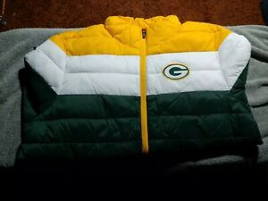 Green Bay Packers Poly Quilt Puffy Zip Up Jacket Size Large
