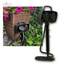 2-fach Garden Outlet IP44, Outdoor Socket With 1,5m Gummi-Kabel And Ground Spike