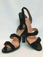 True Vintage 1940's Womens Black Suede 6 1/2 N Slingback Heels Sandals ~ Sexy!