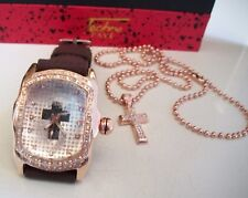 MEN'S ROSE GOLD FINISH ICED OUT BLING CROSS/JESUS WATCH/NECKLACE GIFT SET BOX