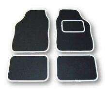 UNIVERSAL CAR FLOOR MATS - BLACK WITH WHITE TRIM FOR CITROEN C1 C2 C3 C4 C5 C6