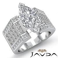 Glistening Marquise Diamond Invisible Engagement Ring GIA H VS2 Platinum 3.62 ct