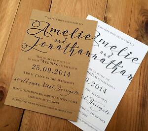 Personalised Rustic Wedding Invitations Handmade  -50