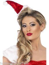 Christmas Mini Miss Red Velvet Santa Hat On Headband With Pom Pom Fancy Dress
