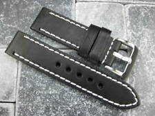 22mm NEW COW LEATHER STRAP White Stitch Watch BAND Super Avenger Black
