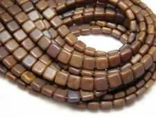Czechmates 6mm Brown Caramel Picasso 2 Hole Tile Beads (50) #3045