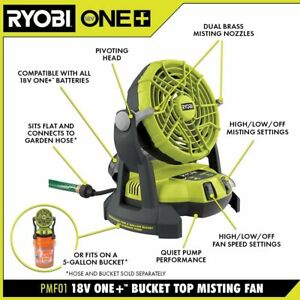 RYOBI ONE+ 18V Portable Bucket Top Misting Mister Fan (Tool Only) PMF01B