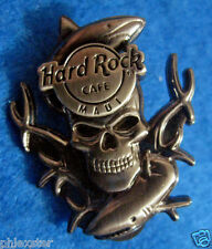 MAUI HAWAIIAN GREAT WHITE REEF SHARKS 3D SILVER SKULL SERIES Hard Rock Cafe PIN