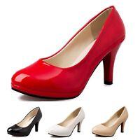 Mid heel Shoes Womens Classic Court Pumps Shiny Ladies High Heels Size UK 1-6