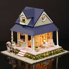 DIY Wood Dollhouse Miniature Kit House Toy w/ Furniture Bicycle Angel  Xmas Gift