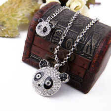 Super cute big silver tone crystal panda necklace