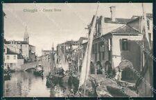 Venezia Chioggia Canale Vena Barche PIEGHINA cartolina QT4024