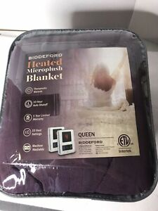 Biddeford MicroPlush Heated Blanket Queen Size Midnight Purple  Color  NEW $160