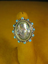BARBARA BIXBY ABALONE TURQUOISE BEAD DOUBLET FLOWER RING SIZE 6 Gift
