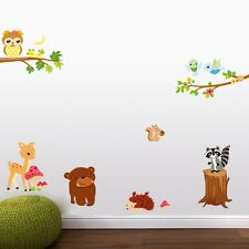 Buy 1 Get Free World of Forest Animals Bear Racoon  Owl Wall Decal for Kids room