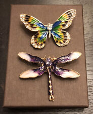 Butterfly & Dragonfly enamel brooches