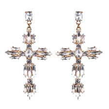 Fashion Party Cross White Topaz Zircon Women Jewelry Drop Earrings Gemstone ME4