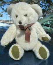 VINTAGE TEDDY BEAR RATTLE TOY DEANS CHILDSPLAY WHITE W GREEN PAWS UK CANADA TAG