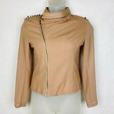 Love Tree Women's Size Medium Vegan Leather Spiked Blazer Moto Zippers Peach