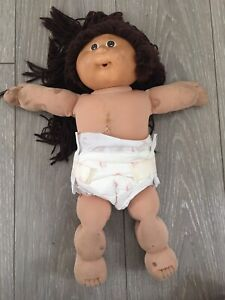 Vintage 85 Cabbage Patch Doll TLC Brown Hair/brown Eyes-Paci Mouth With Clothes.