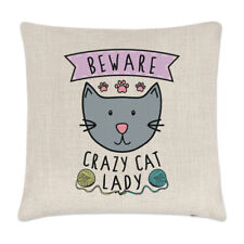 Beware Crazy Cat Lady Linen Cushion Cover Pillow - Funny Animal Kitten