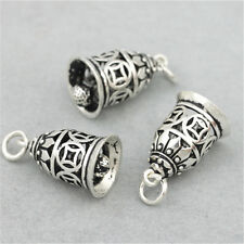 2 Sterling Silver Coin Jingle Bell Charms Pendants 925 Silver