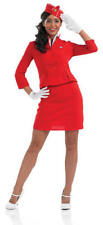 Fun Shack Adult Red Cabin Crew Air Hostess Fancy Dress Costume Size XL UK 16-18