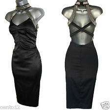 Karen Millen Vintage Black Satin Embellished Cross Back Wiggle Cocktail Dress 10