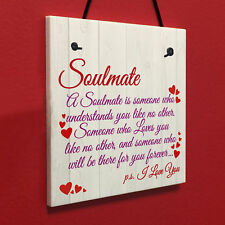 Soulmate I Love You Cute Christmas Gift Hanging Heart Plaque Valentines Day Sign