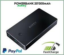 AUKEY Power Bank 20000 mAh Carica Batteria Esterna Portatile 2 USB RAPIDA QC3.0