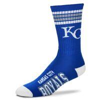 Kansas City Royals For Bare Feet MLB 4 Stripe Deuce Crew Socks SZ Large