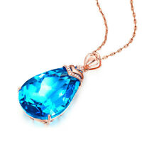 Rose Gold Plated Silver Pendant Ocean Blue Topaz Wedding Jewelry Gift