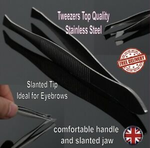 Tweezers Top Quality Stainless Steel Slanted Tip Ideal for Eyebrows
