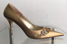PELUSO Damen Spitze Pumps High Heels Sexy Strassstein Gold Gr.: 38
