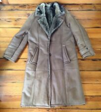 Vintage Marie Helene Coyote Fur Lined Brown Leather Trench Long Coat Italy L 48""