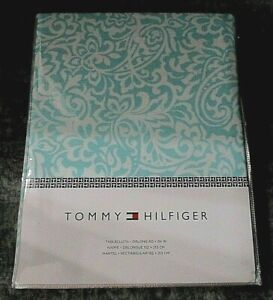 """Tommy Hilfiger Turquoise Blue Paisley Fabric Tablecloth 60"""" x 84"""" NIP"""