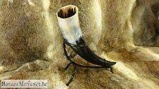 Trinkhorn 0,5 - 0,59l mit Halter aus Leder & Trinkhornständer Methorn Wikinger