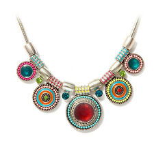 Tribal Boho Beachy Ethnic Turkish Coin Statement Pendant Chain Chunky Necklace
