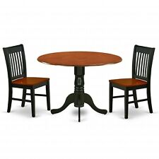 3pc dinette set round kitchen drop leaf table + 2 wood seat chairs cherry black