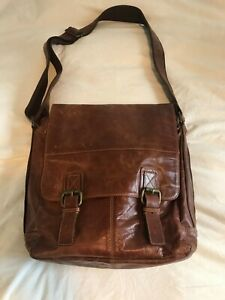 Beautiful Brown Distress Leather Crossbody Messenger Bag - Unisex
