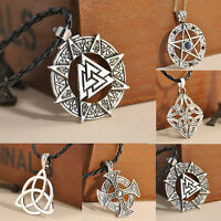 Vintage Silver Celtic Knot Trinity Pewter Pendant Necklace cord Jewelry Gift