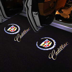 2x Cadillac LED Logo Door Step Courtesy Shadow Laser Lights For CTS SRX ATS