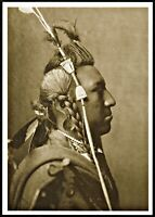 ⫸ 863 Postcard SWALLOW BIRD Crow Native American Indian 1908 Curtis Photo