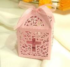 10pk Pink Christening/Baptism Favour Box Decorations Favor Gift Boxes