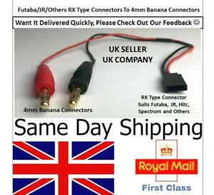 Futaba Hitec RC Battery Connector to 4mm Banana Plug Charger Cable lead Lipo UK
